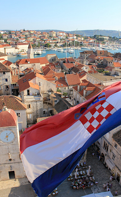 Croatian flag flying in Trogir, Dalmatia. Flickr:Jeremy Couture
