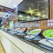 Salad bar aboard the New Star | Bike & Boat Tours