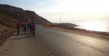 Biking on the shores of the Dead Sea, bordering Israel, Jordan and Palestine.
