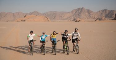 Cycling through the salt flats in Jordan.