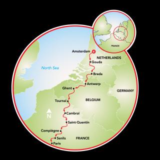 Amsterdam to Paris Map