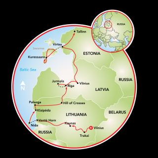 Cycling in the Baltics - Vilnius to Tallinn Map