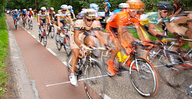 Bike race through the Utrechtse Heuvelrug, the Netherlands. Photo via Flickr:E. Dronkert