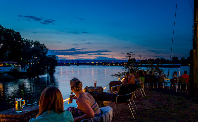 Cafe in Mainz overlooking the Rhine River, Germany. Photo via Flickr:Florian Christoph