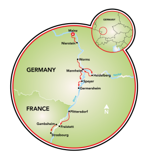 Mainz to Strasbourg or Strasbourg to Mainz Map