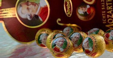The famous Mozart chocolates in his birthplace Salzburg, Austria. Photo via Flickr:slgckgc