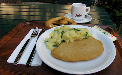Schnitzel of course in Salzburg, Austria. Flickr:Erica