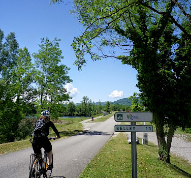 Biking from Chanaz to Belley in France on the Via Rhone bike route.