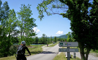 Biking from Chanaz to Belley in France on the Via Rhône Bike Route.