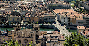 Lyon lies at the confluence of the Saone and Rhone Rivers, France. Photo via Flickr:Sandrine Neel