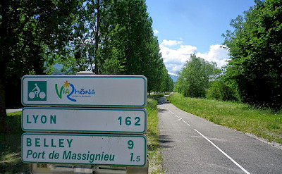 Via Rhône signs mark the way on this Geneva to Lyon Bike Tour.