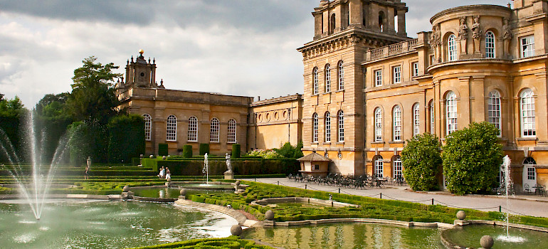Blenheim Palace, where Winston Churchill was born, in Woodstock, Oxfordshire, England. Photo via Flickr:Sheila Sund