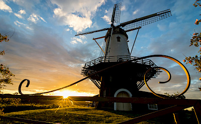 Windmill at sunset in Veere in Zeeland, the Netherlands. Flickr:dynphoto