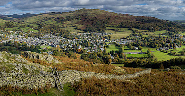 Ambleside is in the center; Waterhead lies on edge of Lake Windermere, Lakes District, England. Photo via Wikimedia Commons:Diliff