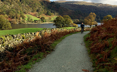 Leisure cycling in the scenic Lakes District, England.