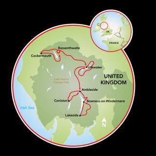 England's Lake District E-Bike Tour Map