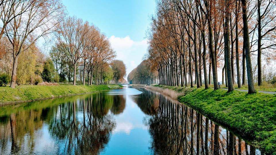 Canal leading out of Bruges toward the North Sea.