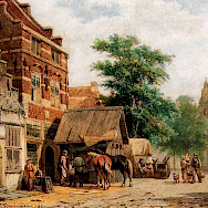 Oil painting of a Blacksmith in Culemborg in 1860 by Cornelius Springer.