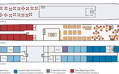 Deck plan - De Nassau | Bike & Boat Tours