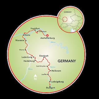 Aschaffenburg to Stuttgart Map