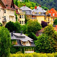 Houses along the Mainz and Neckar Rivers in Heidelberg, Germany. Flickr:Tobias van der Haar