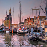 Twilight at the harbor in Hoorn, North Holland, the Netherlands. Flickr:bk