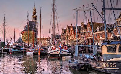 Twilight at the harbor in Hoorn, North Holland, the Netherlands. Flickr:bk
