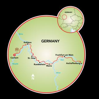 Cochem to Aschaffenburg Map
