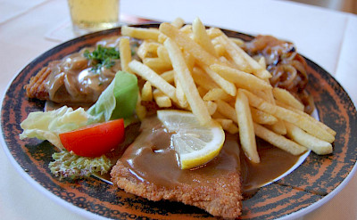 Beer and Schnitzel for lunch in Rudesheim, Germany, of course! Flickr: