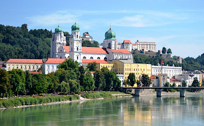 View of the Cathedral and Oberhaus in Passau, Bavaria, Germany. Wikimedia Commons:High Contrast