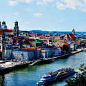 The Danube, Ilz and Inn Rivers meet in Passau, Germany. Flickr:polybert49