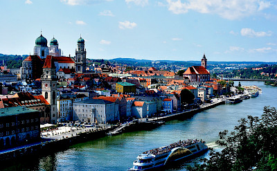 The Danube, Ilz and Inn Rivers meet in Passau, Germany. Flickr:polybert49