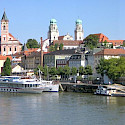 Boats await on the Danube River in Passau, Bavaria, Germany. Wikimedia Commons:Aconcagua