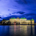 Schloss Belvedere aglow at night in Vienna, Austria. Flickr:Kiefer