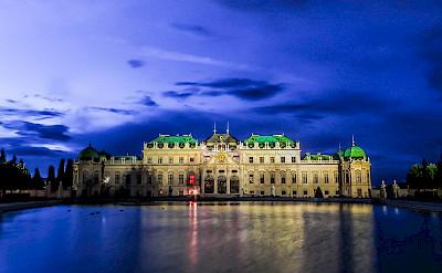 Schloss Belvedere aglow at night in Vienna, Austria. Flickr:Kiefer