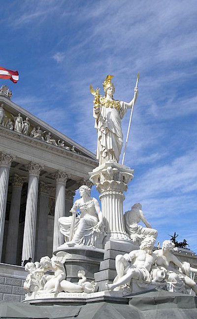 Statue of Athena in front of Austrian Parliament.