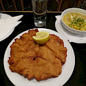 Schnitzel, potatoes and beer in Vienna, Austria. Flickr:alpercugun