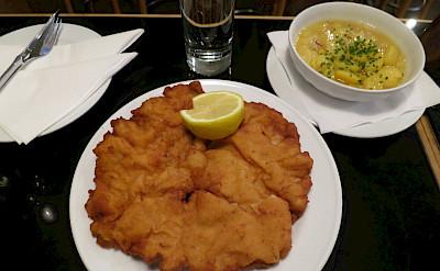 Schnitzel, potatoes and beer in Vienna, Austria. Flickr:alpercugun