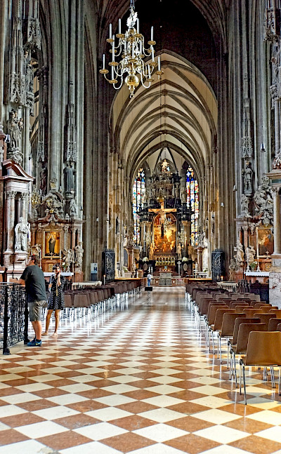 Inside the luxurious St Stephen's Cathedral in Vienna, Austria. Flickr:Dennis Jarvis