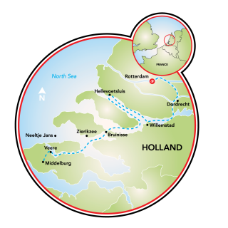 Rotterdam to the Zeeland Province Map