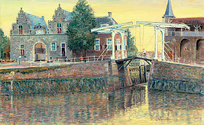 Oil painting of bridge in Zierikzee, the Netherlands by Hubertine Heijermans, 1993