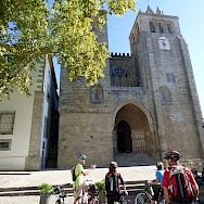 Bike rest to admire Sé de Évora in Alentejo, Portugal.