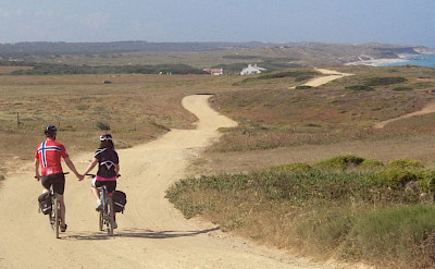 Enjoying the ride along the coast on this Bike & Cook Portugal Tour!