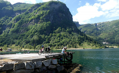 Bike rest on the dock overlooking the fjords in Norway. Photo via TO.