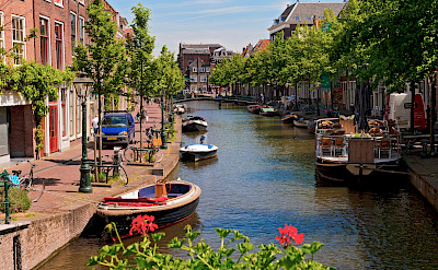 Canal boats in Leiden, the Netherlands. Photo via Flickr:Tambako the Jaguar
