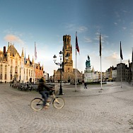 Whizzing through the main square in Bruges, Belgium. Flickr:panoramas