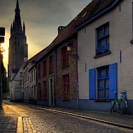 Sunsetting over Bruges, Belgium. Wikimedia Commons:Wolfgang Staudt