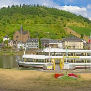 Panorama of the Mosel River and Ferry in Cochem, Rhineland-Palatinate, Germany. Flickr:Frans Berkelaar