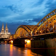 Grand bridge and Cathedral in Cologne along the Rhine and Mainz River, Germany. Flickr:Anja Pietsch