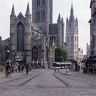 Grand cathedrals in busy Ghent, East Flanders, Belgium. Flickr:Ed Webster
